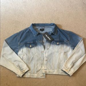 Oversized dip dye denim jacket